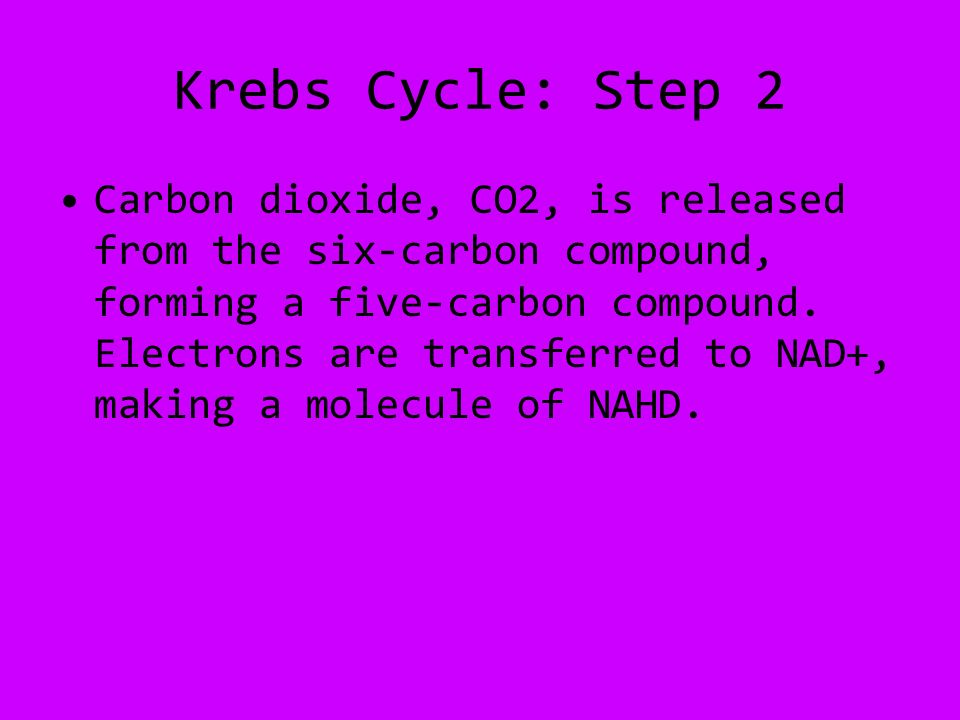Krebs Cycle: Step 2 Carbon dioxide, CO2, is released from the six-carbon compound, forming a five-carbon compound.