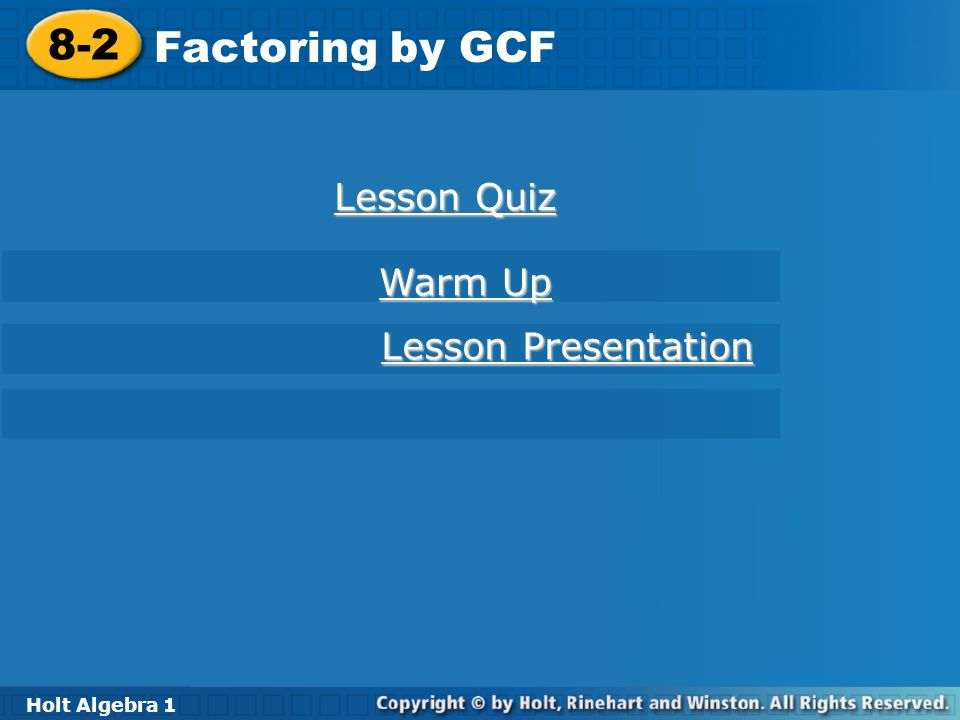 8-2 problem solving factoring by gcf