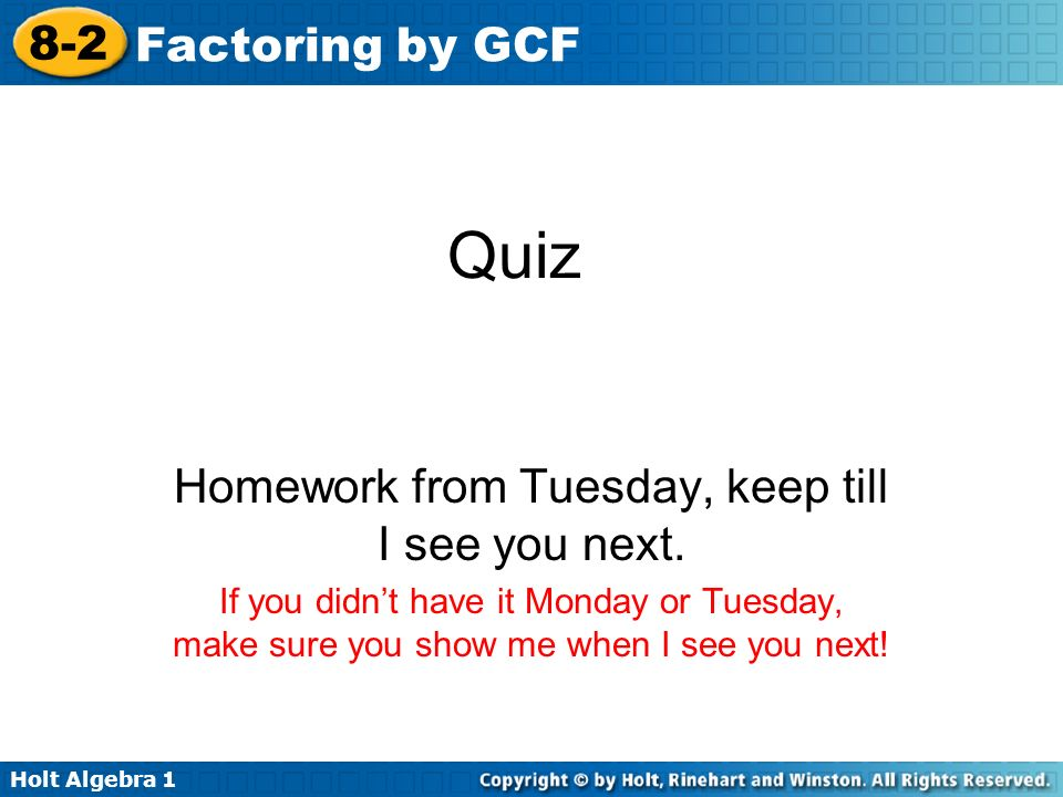 lesson 8.2 problem solving factoring by gcf