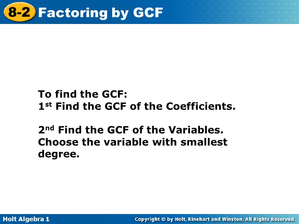 lesson 8.2 problem solving factoring by gcf
