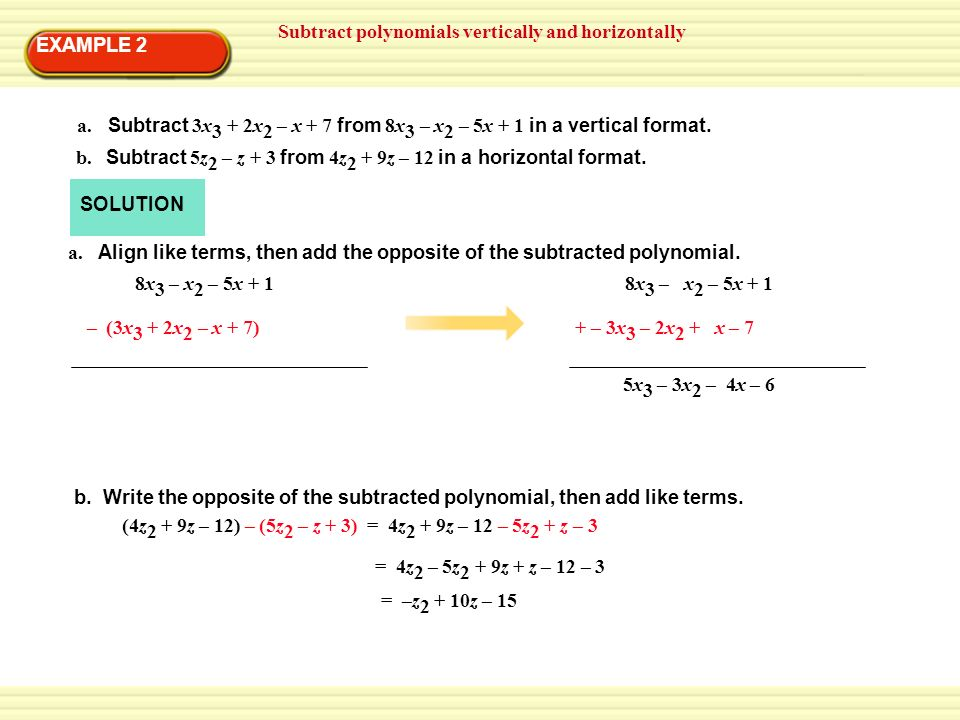 HW: 6.2 Practice Worksheet. EXAMPLE 1 Add polynomials ...