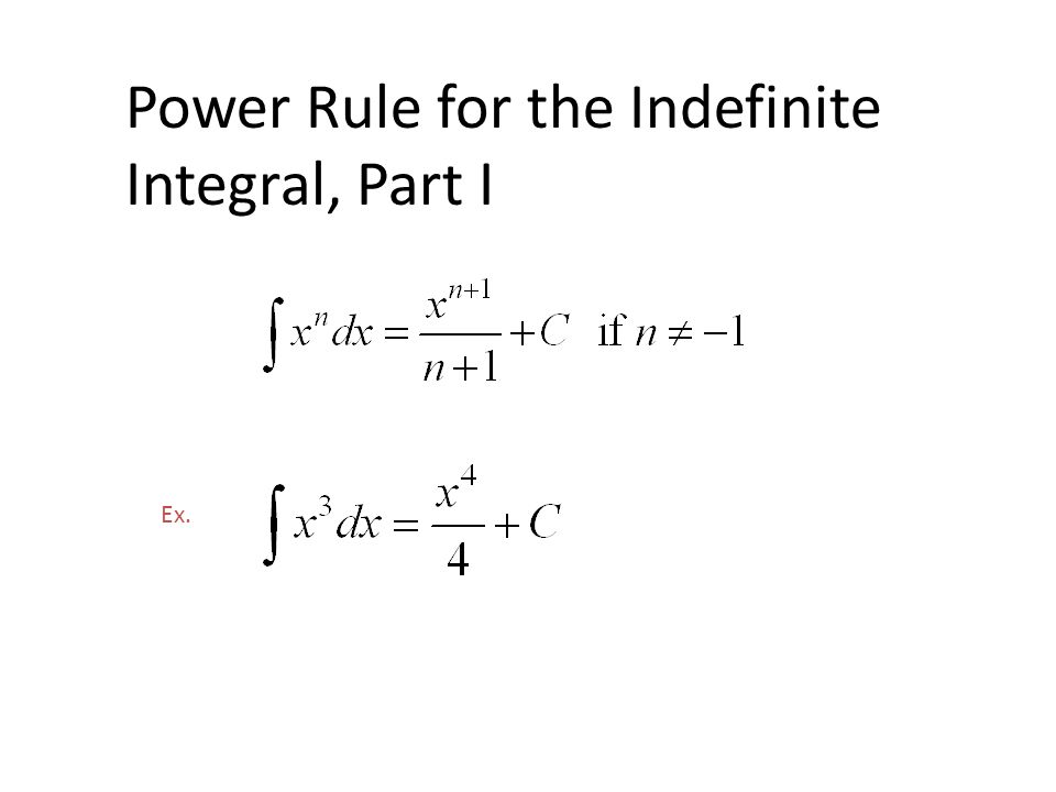 Power Rule for the Indefinite Integral, Part I Ex.