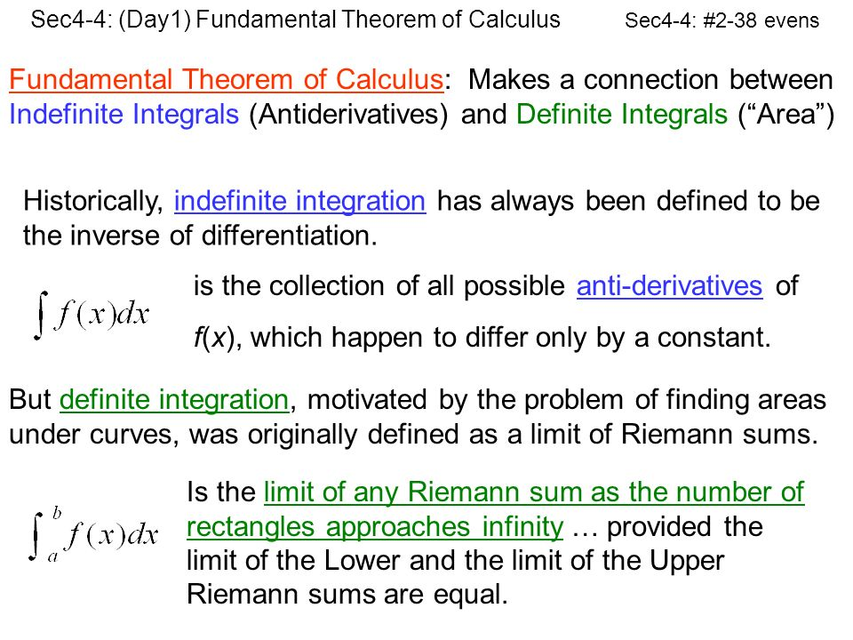 Fundamental Theorem Of Calculus Makes A Connection Between