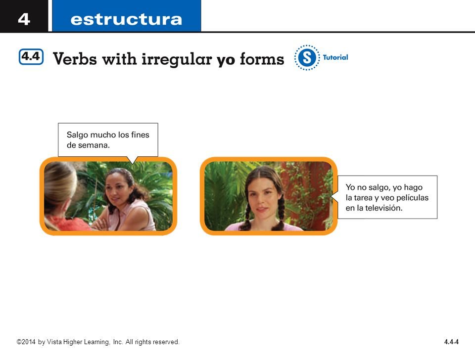 4 4-1 In Spanish, several verbs have irregular yo forms in the