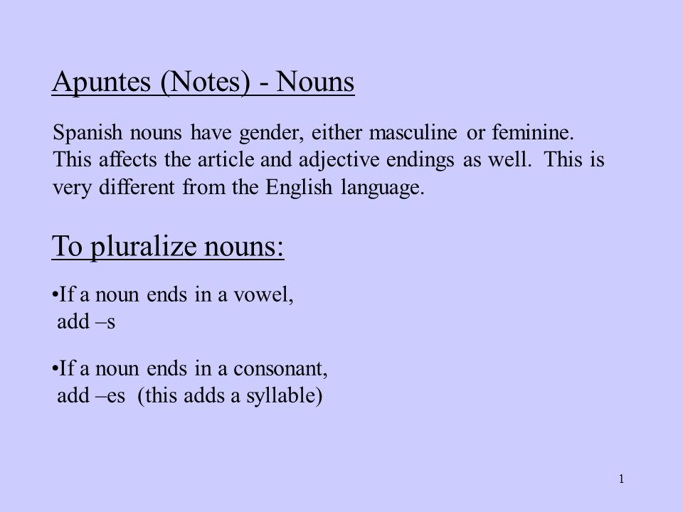 Apuntes Notes Nouns Spanish Nouns Have Gender Either Masculine