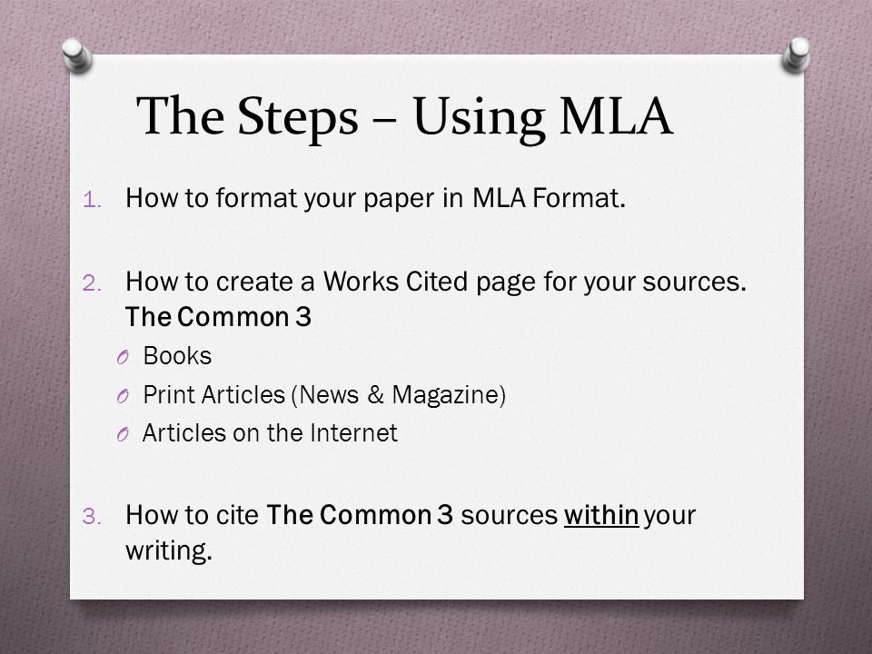 citing sources mini lesson on mla format the steps using mla 1