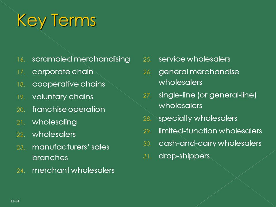 Key Terms 16. scrambled merchandising 17. corporate chain 18.