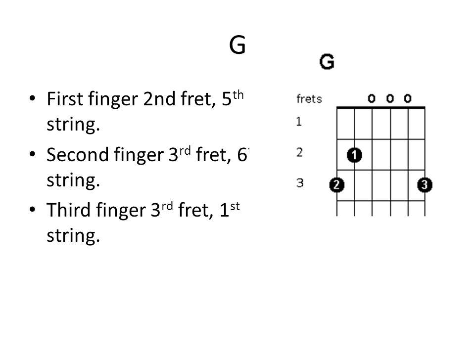 Guitar Chords. G First finger 2nd fret, 5 th string. Second finger 3 ...