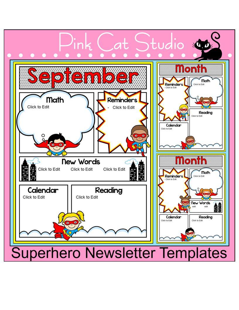 superhero theme newsletter templates editable headings text