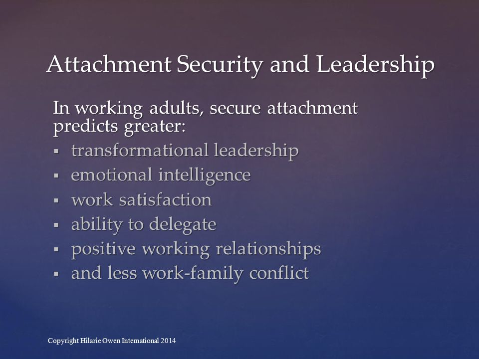 Secure attachment Low relationship anxiety and avoidance