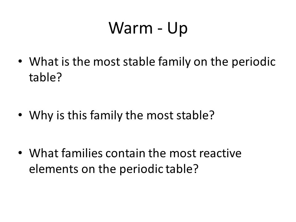 Intro to the periodic table periodic trends graphing activity ppt warm up what is the most stable family on the periodic table urtaz Image collections