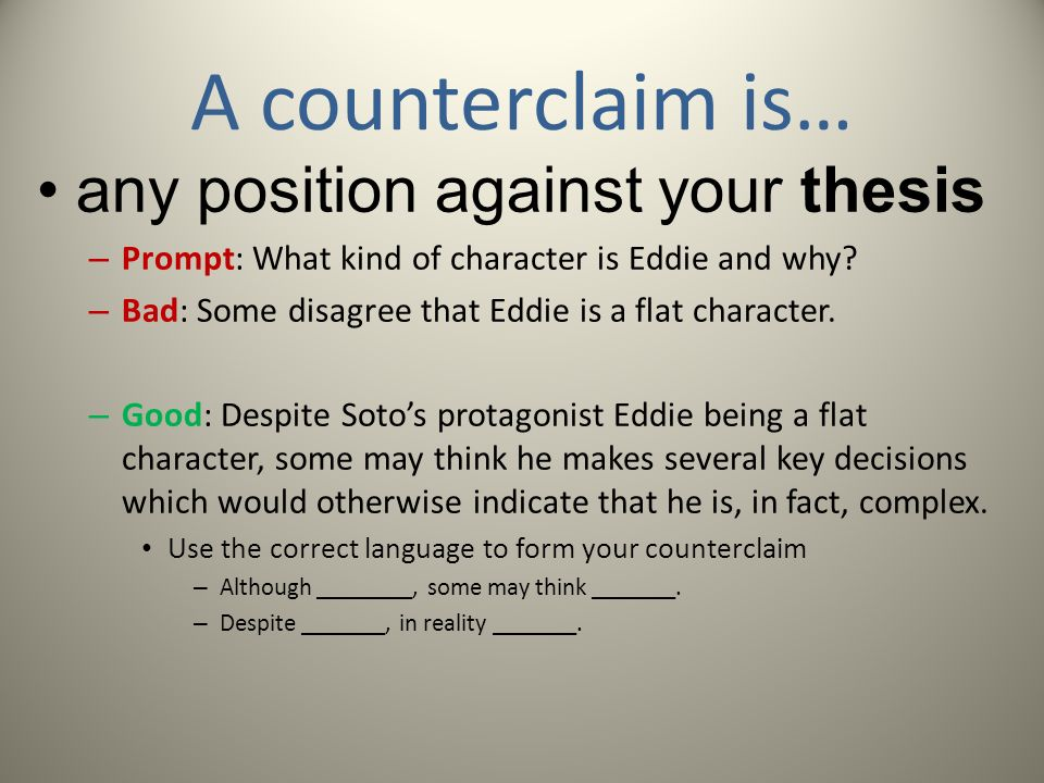 counterclaim essay