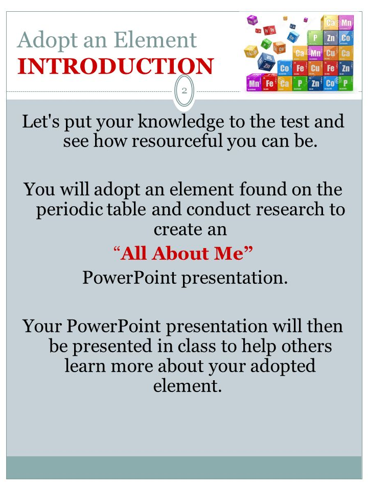 Click On The Periodic Table 1 Adopt An Element Adopt An Element