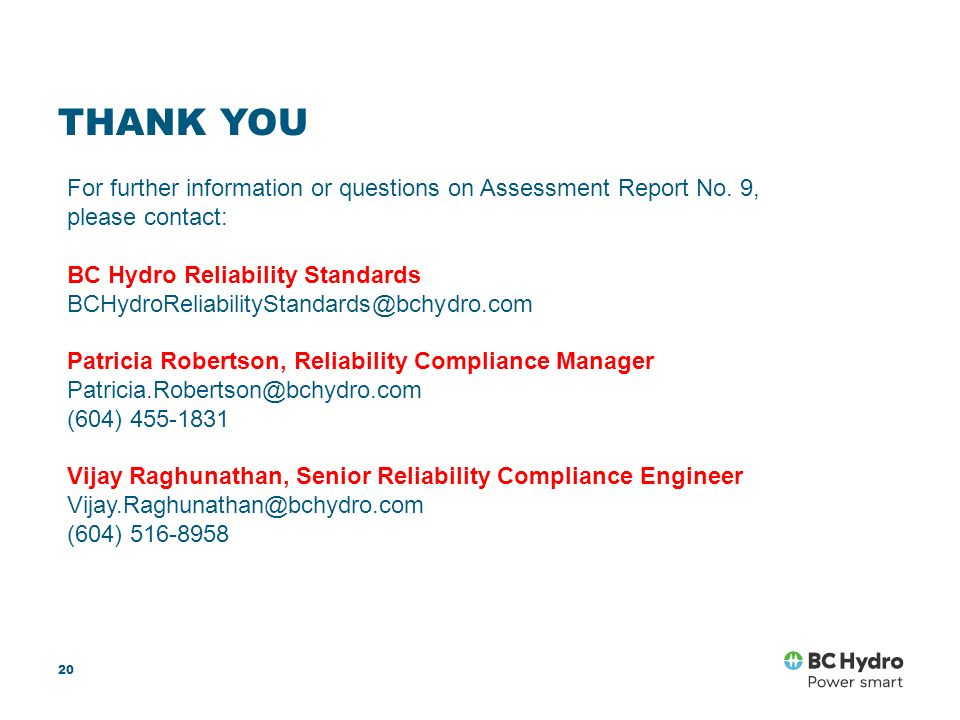 Assessment Report No  9 Workshop Mandatory Reliability