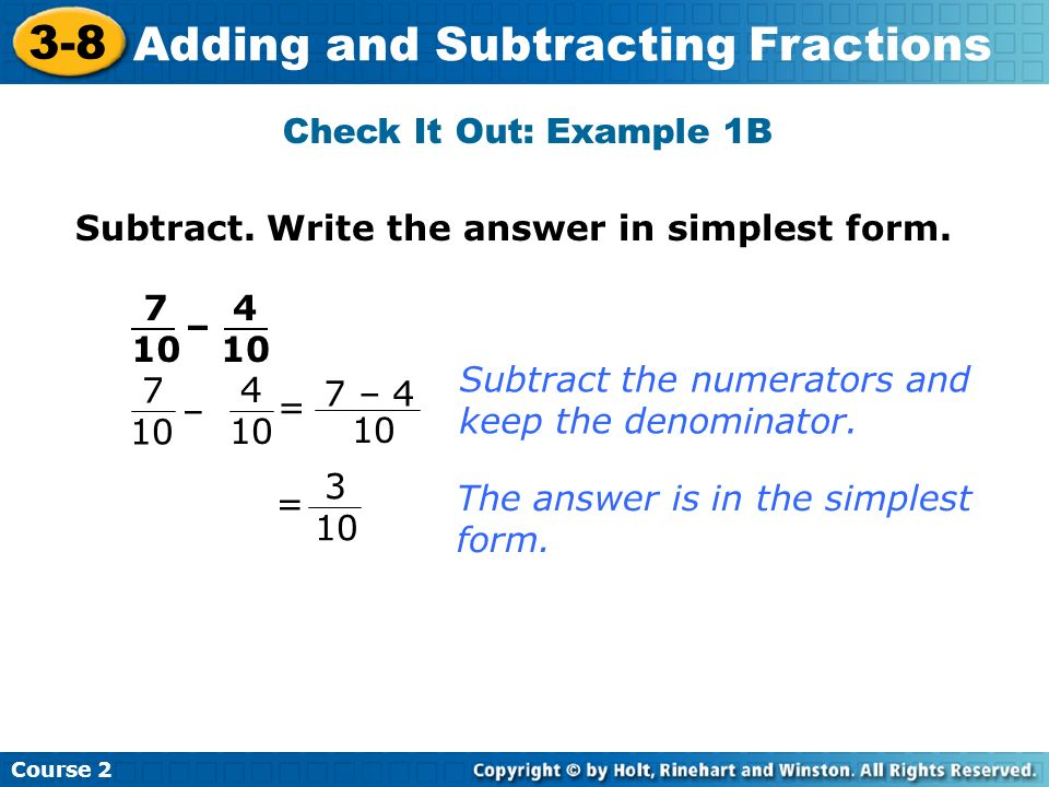 simplest form 4/10  11-11 Adding and Subtracting Fractions Course 11 Warm Up Warm ...
