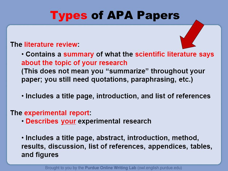 literature review paper apa format Selected links to resources on writing a literature review step 1: review apa guidelines  decide on the format in which you will take notes as you read the articles (as mentioned above, you can do this in refworks  if the review was written to stand alone, as is the case of a term paper or a review article for publication, the.