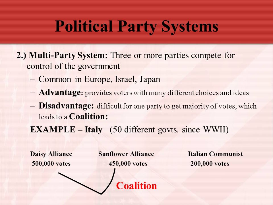 the uk has a multi party system • a political party is an autonomous group of citizens having the purpose of making nominations and contesting elections in the hope of gaining control over governmental.