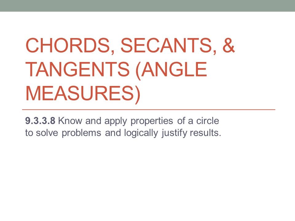 Chords Secants Tangents Angle Measures Know And Apply
