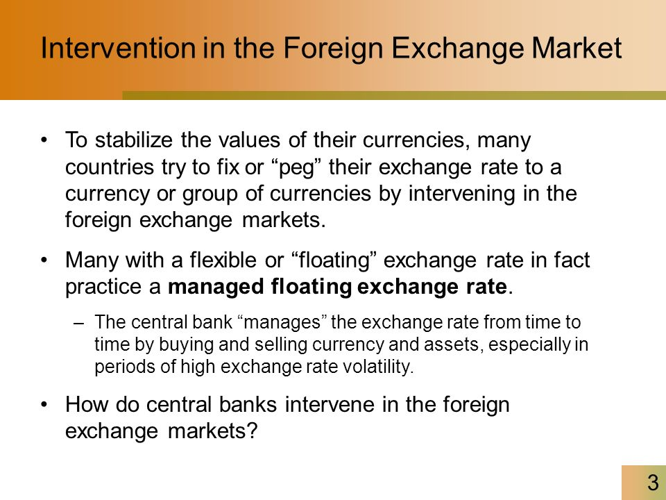 3 Intervention In The Foreign Exchange Market To Ilize Values Of Their Currencies Many