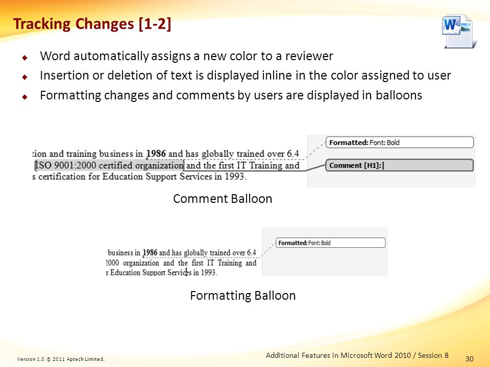 Additional Features in Microsoft Word Session Version 1 0