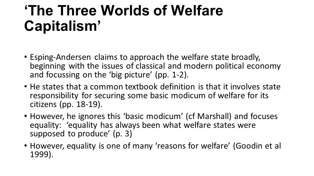 a re-specification of the welfare state': conceptual issues in 'the
