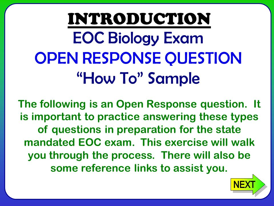 EOC Biology Exam OPEN RESPONSE QUESTION How To Sample The