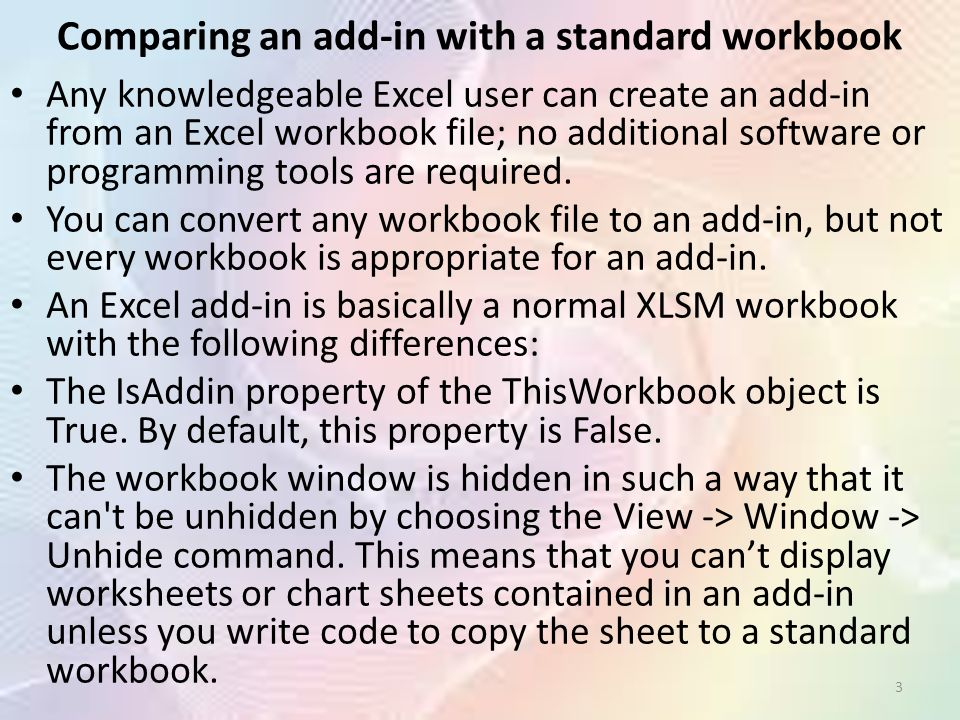 Ms Excel Add-Ins Dr Joanna Wyrobek 1  What Is an Add-In? One of