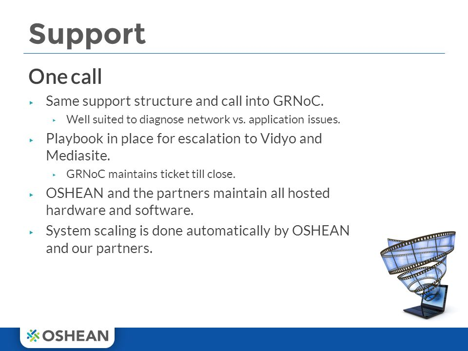 Support One call ▸ Same support structure and call into GRNoC.