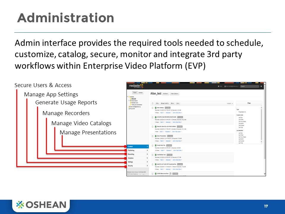 Administration 17 Admin interface provides the required tools needed to schedule, customize, catalog, secure, monitor and integrate 3rd party workflows within Enterprise Video Platform (EVP) Secure Users & Access Manage App Settings Generate Usage Reports Manage Recorders Manage Video Catalogs Manage Presentations