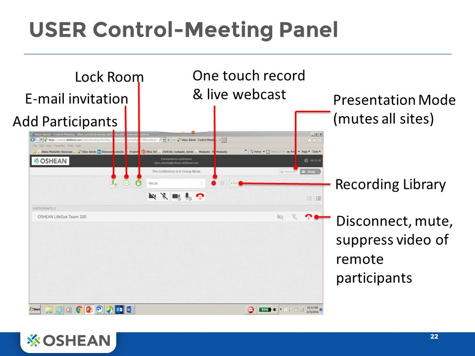 USER Control-Meeting Panel 22 Presentation Mode (mutes all sites) One touch record & live webcast E-mail invitation Recording Library Lock Room Add Participants Disconnect, mute, suppress video of remote participants