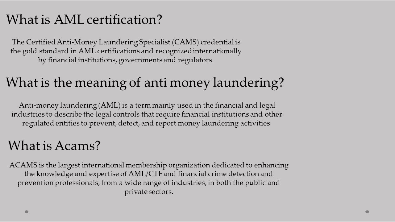 Acams Cams Certified Anti Money Laundering Specialists Ppt Download