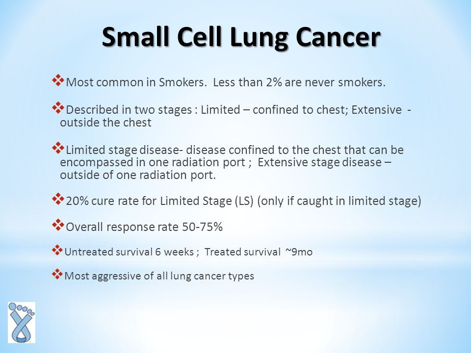Pathophysiology of lung cancers Small cell lung cancer