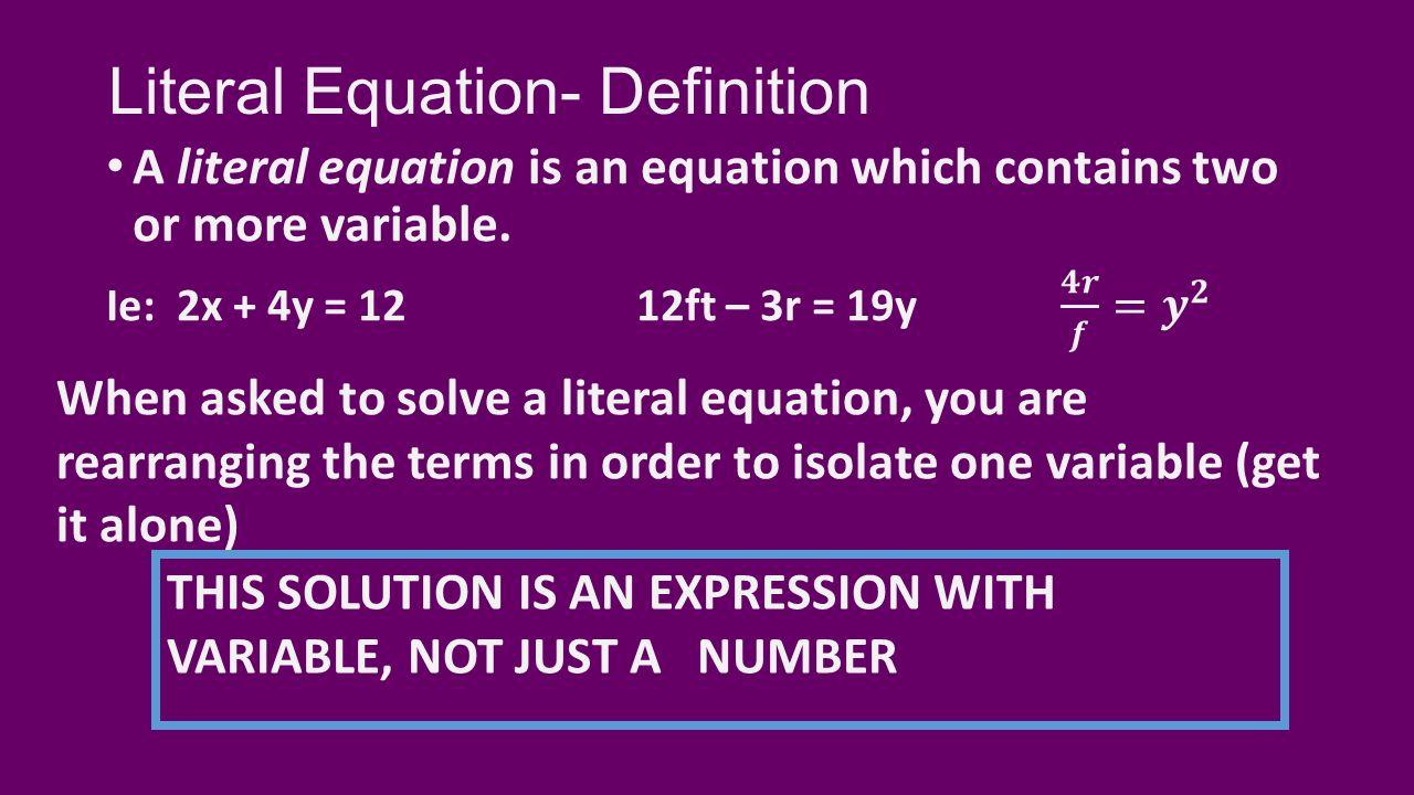 solving literal equations 1/11/16 advanced algebra/trig. - ppt download