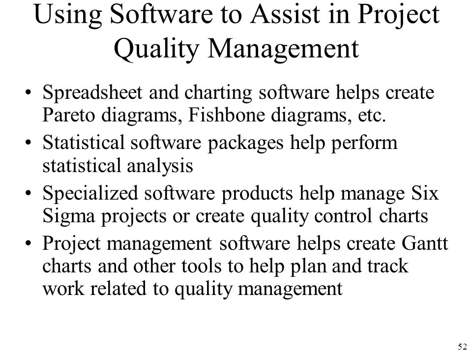 1 chapter 8 project quality management 2 learning objectives 52 using software to assist in project quality management spreadsheet and charting software helps create pareto ccuart Images