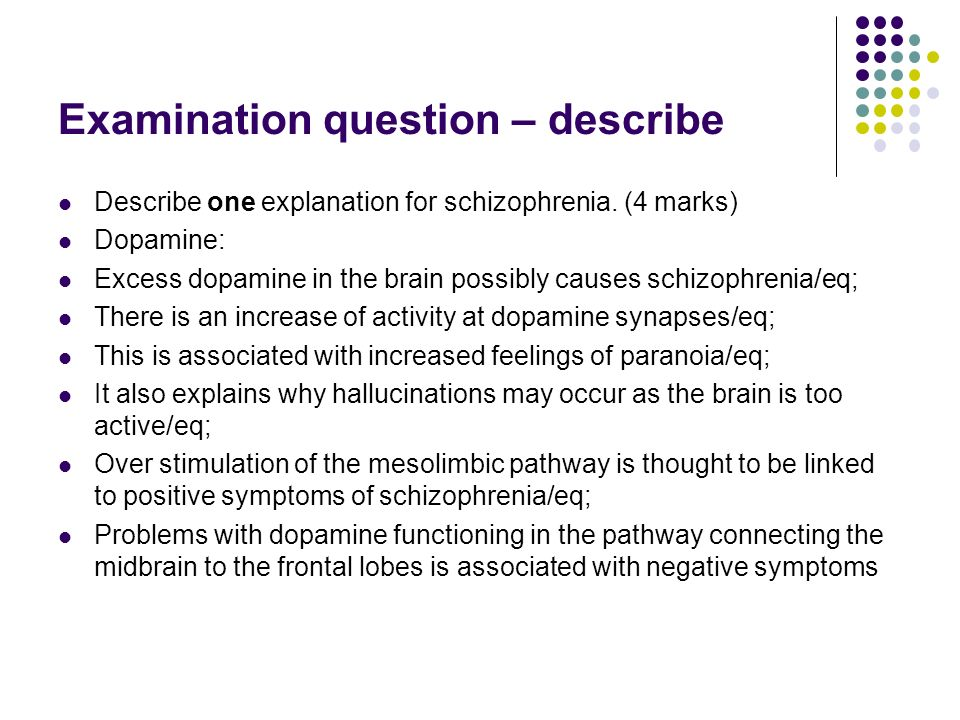 A biological explanation for schizophrenia L O  To be able