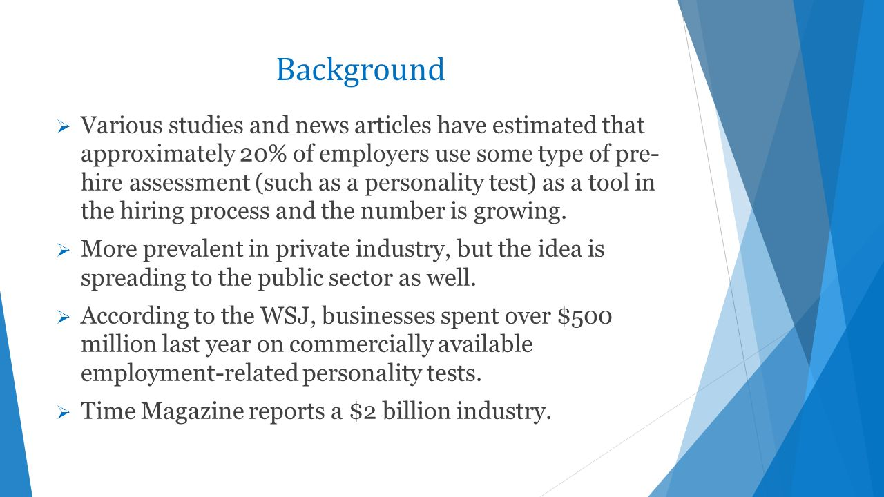 Legal Issues Related to Pre-Employment Personality Testing