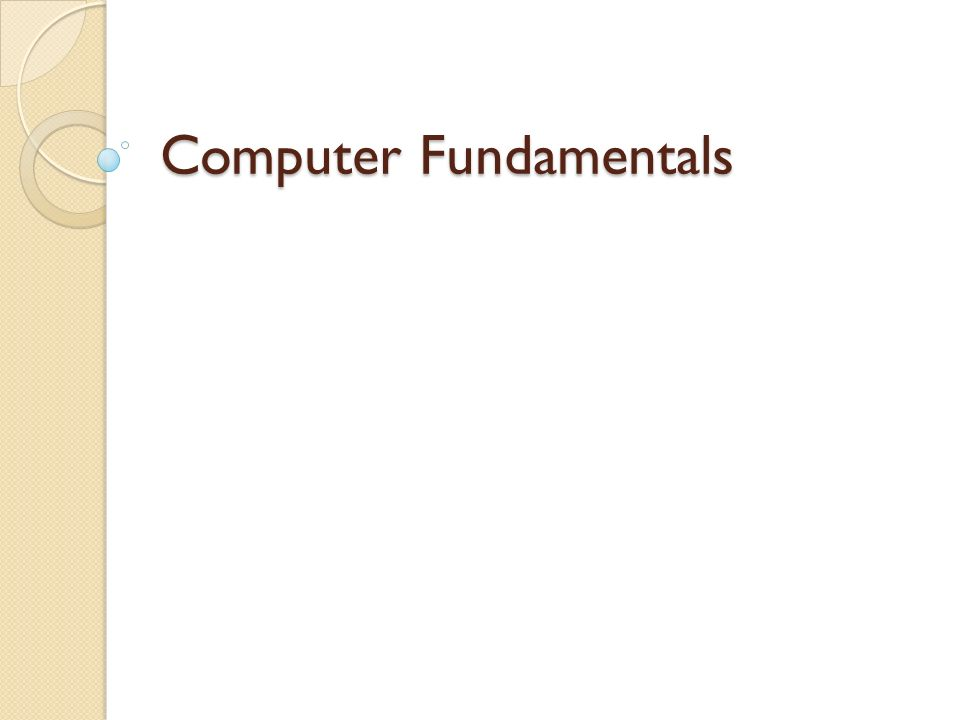 Computer Fundamentals  Examples of Computers Hand-held (HPC