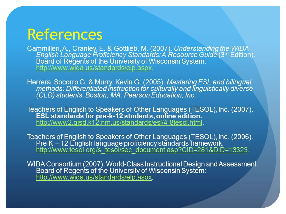 Teaching English Language Learners Implementing WIDA and