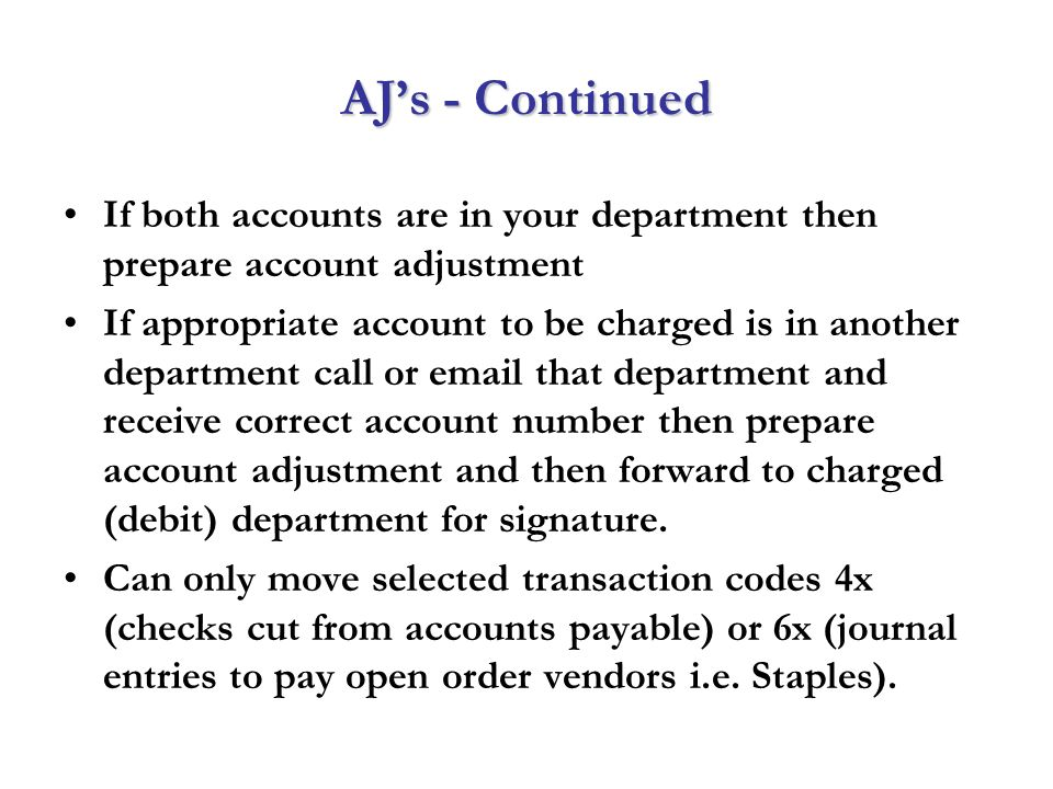 Account Adjustments How And Why Don T Sweep It Under The