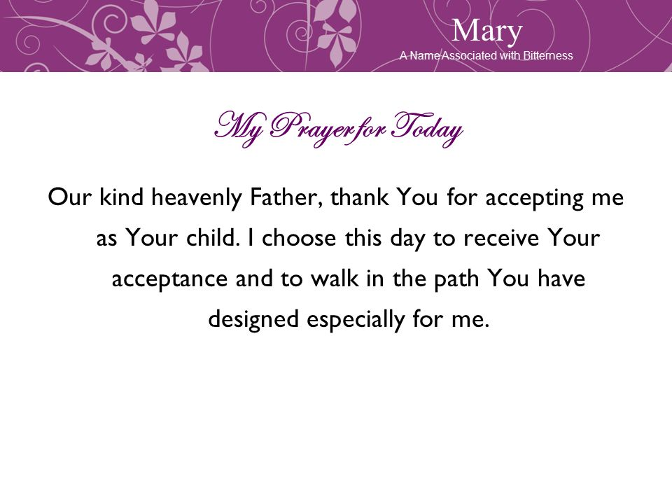 Acceptance 7 Lesson Women In The Bible Mary And Me Your Word Is