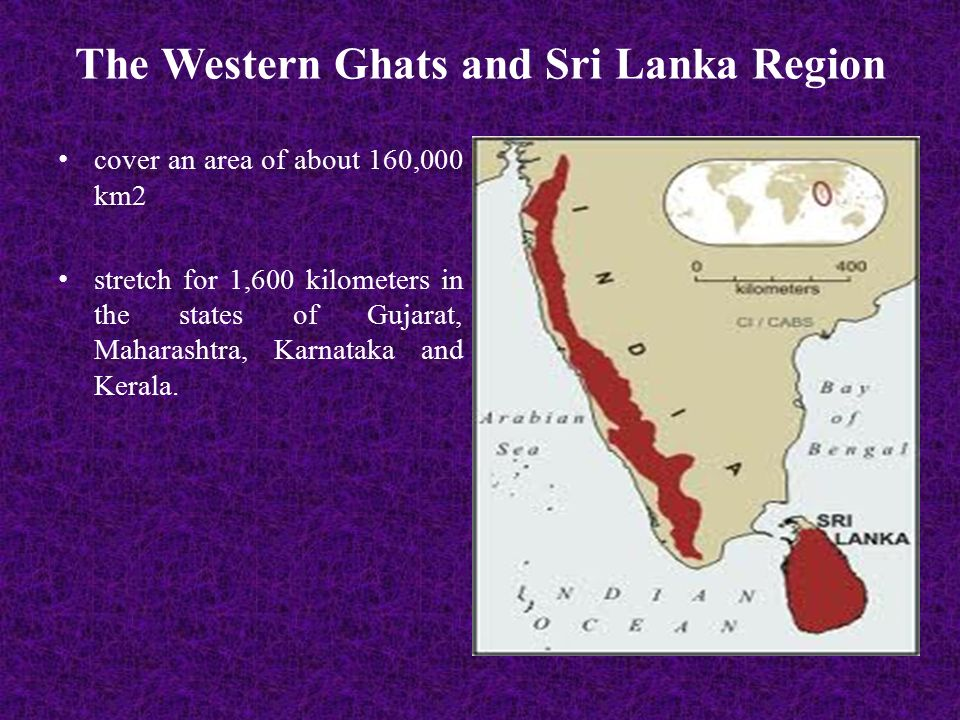 The Western Ghats and Sri Lanka Region cover an area of about 160,000 km2 stretch for 1,600 kilometers in the states of Gujarat, Maharashtra, Karnataka and Kerala.