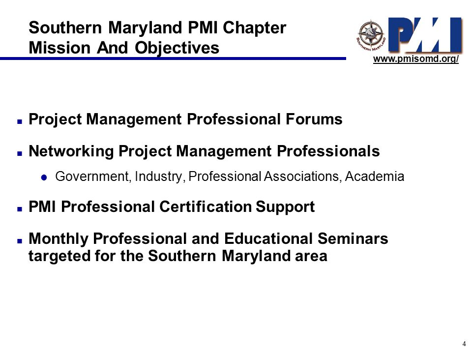 Project Management Institute Southern Maryland Chapter Overview Of