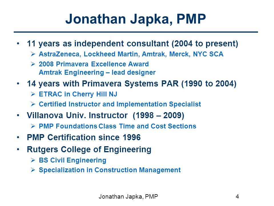 Performing A Critical Path Analysis Presented By Jonathan Japka Pmp