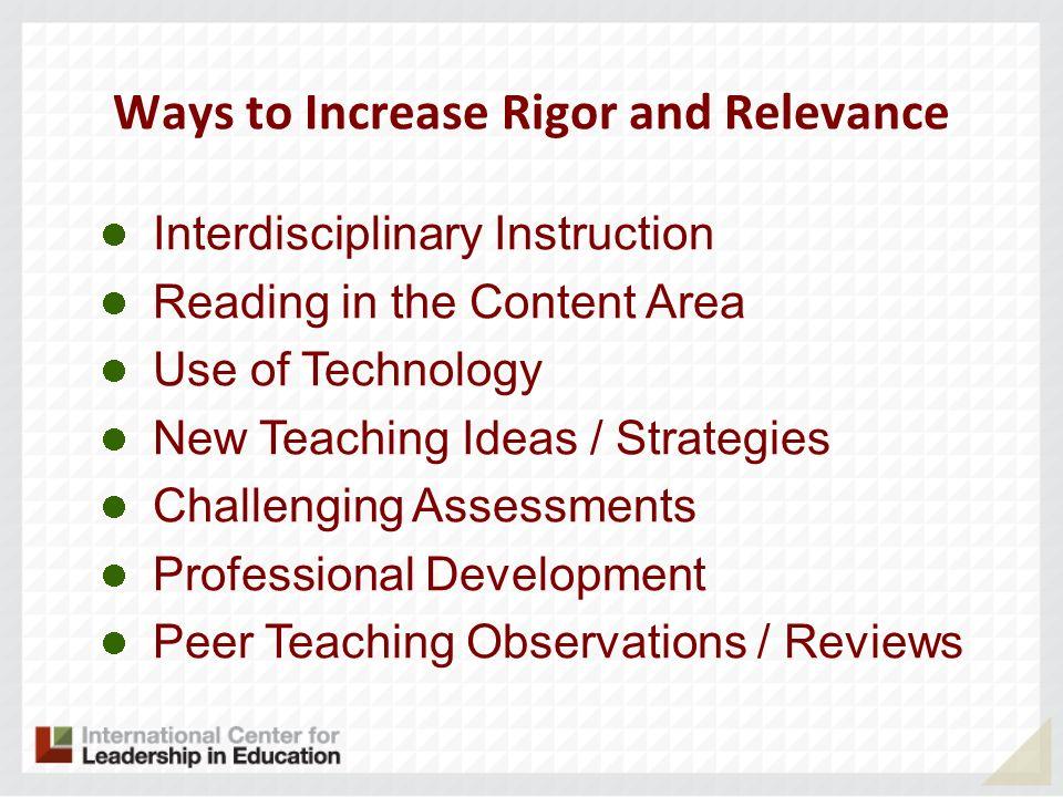Using The Rigorrelevance Framework For Effective Instruction