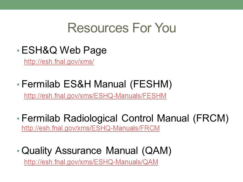 esh q for supervisors fermilab s es h policy fermilab employees rh slideplayer com radiological control manual standard radiological control manual standard