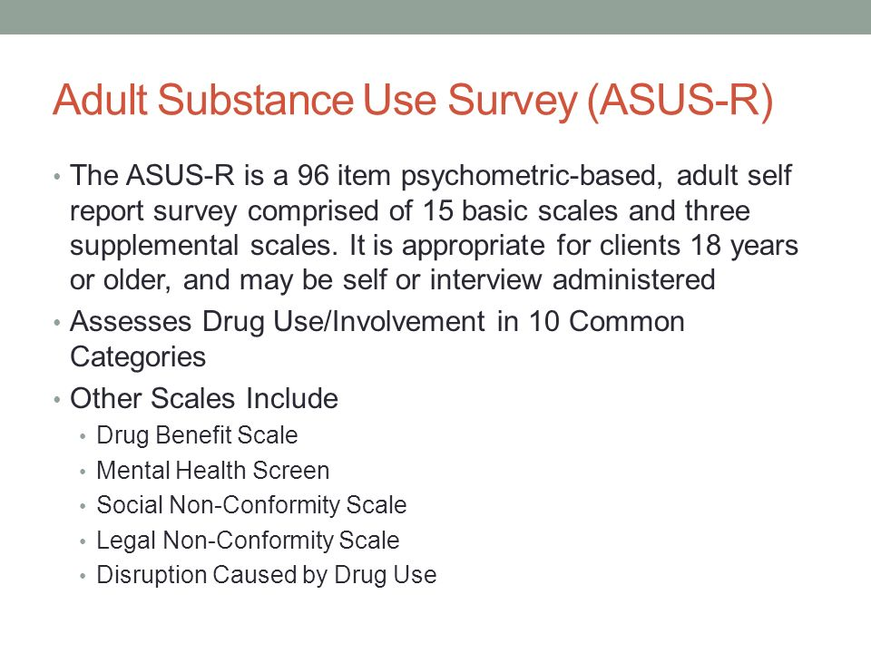Adult substance use survey asus