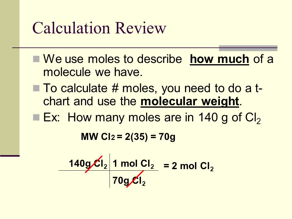 Calculation Review We use moles to describe how much of a molecule we have.