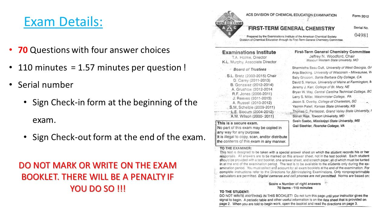 2011 may chemistry exam Chem 107 - hughbanks final exam, may 11, 2011 name (print) uin # section 503 exam 3, version # a on the last page of this exam, you've been given.