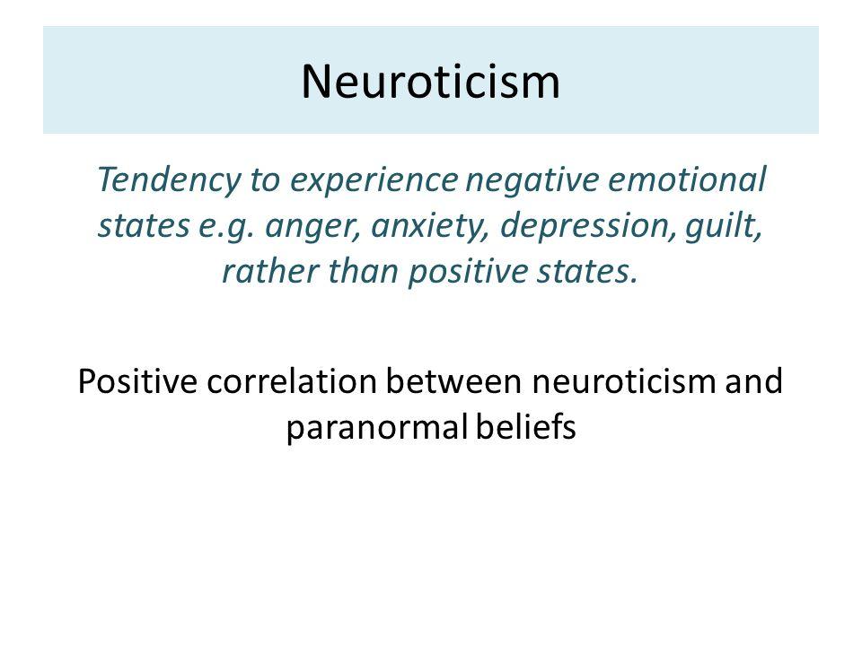 Personality factors Anomalistic psychology  Neuroticism