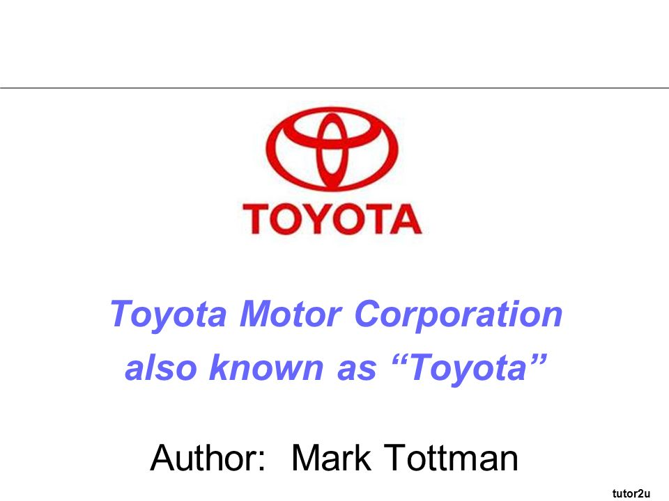 an introduction to toyota motor corporation marketing essay Toyota motor corporation, or toyota in short, is a japanese automaker it is the world's second largest automaker behind general motors [http according to toyota, the company's first major foreign market was the united states, and the lessons learned there informed strategies later used in.